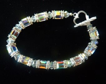 "BEEutiful Swarovski Cube Crystal Wedding Bracelet -- ""Dianne"""