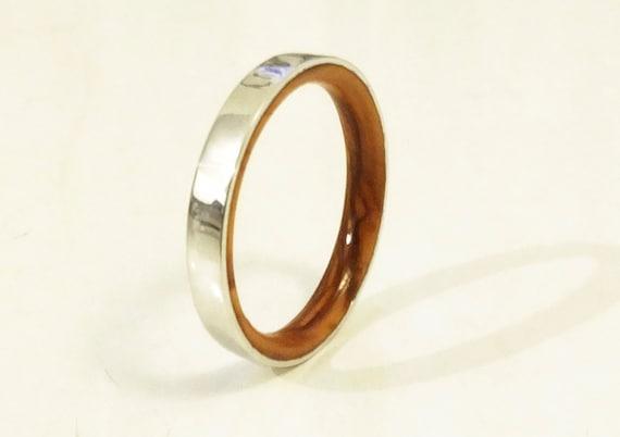 olive wood ring in sterling silver wood by viademontejewelry