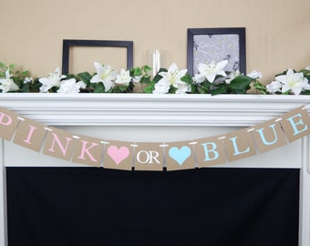 gender reveal banner, baby shower decoration, baby shower party, Pink vs Blue Baby Shower Banner, boy or girl banner, gender reveal party