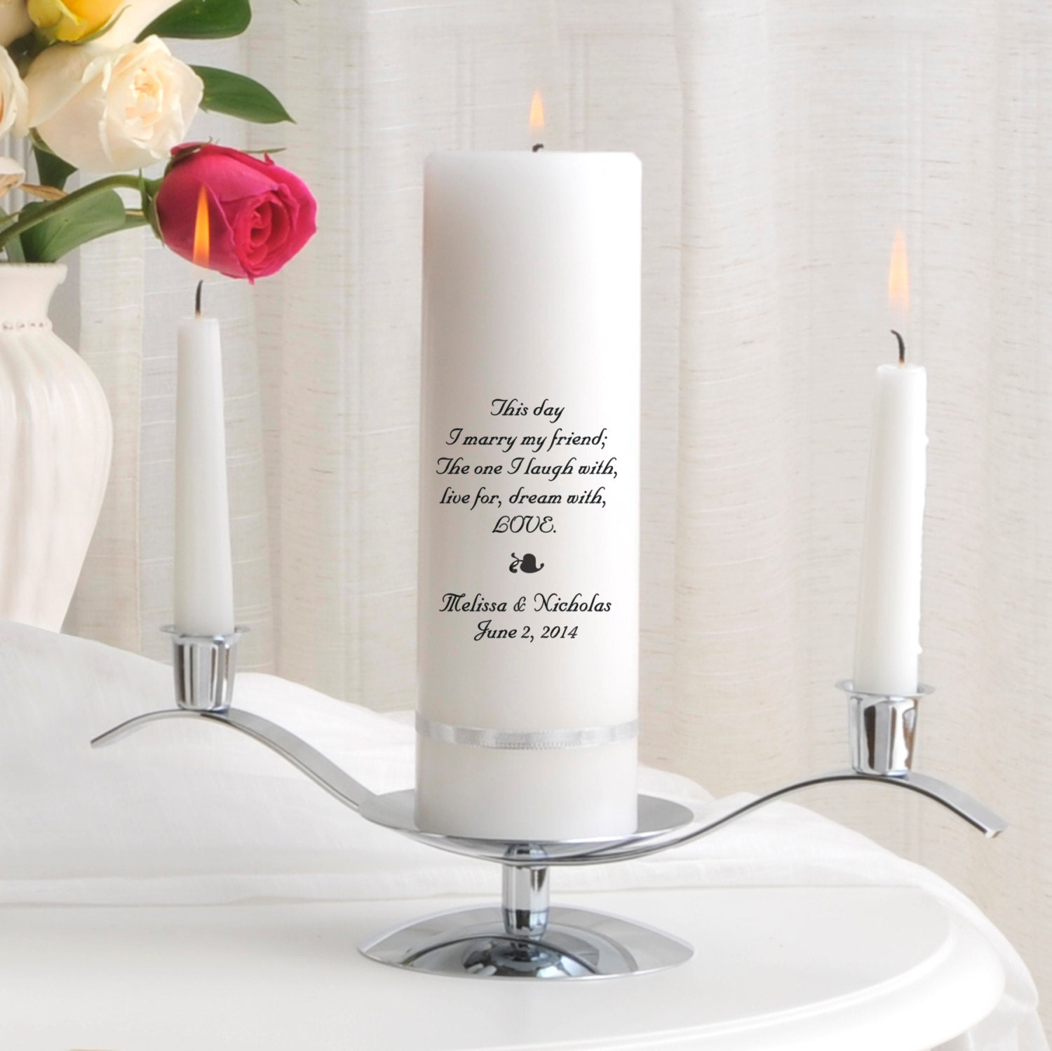 Wedding Candles: Unity Candle Set Personalized Wedding Candle Sets Unity