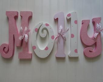 Nursery letters, Nursery wall hanging letters, Pink & White nursery decor, nursery wall letters