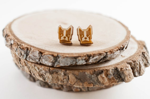 Laser Cut Boston Terrier Wood Earrings | Dog Earrings | Unisex earrings