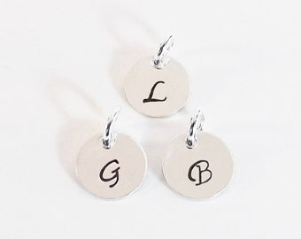 Hand Stamped 10mm Initial Charm to add to Necklace, Bracelet or Key Chain