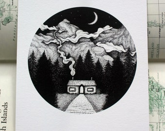 Forest Home Pen and Ink Art Print