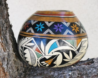 Southwestern Hand-painted Gourd Pot #656 Daisy and Geometric Design