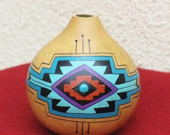 Southwestern Hand-painted Gourd Pot #665 Geometric Design