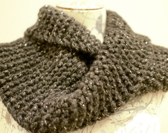 Soft black with silver sparkle thread cowl. Acrylic/wool yarn. Hand made.