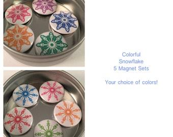 Colorful Snowflake Magnet Set