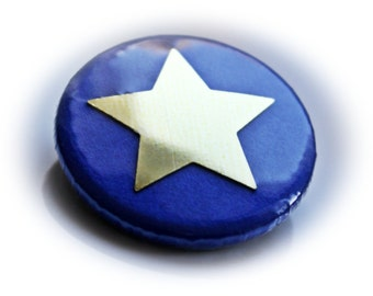 Pinback Button or Magnet Blue Star