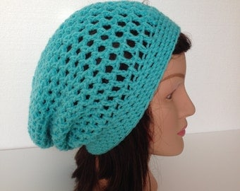 Crochet Slouchy Beanie Hat - Turquoise