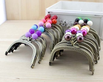 1 PCS, 9cm / 3.5 inch Curved Solid Small Beads BrassKiss Clasp Lock Purse Frame, C6S