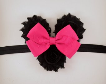 Minnie Mouse Headband - Pink Minnie Mouse Halloween Costume - Disney Headband - Baby Headband Toddler Adult Headband Minnie Mouse Costume