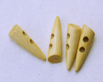 Wooden toggles. Tusk style. Set of 4. LWTT001