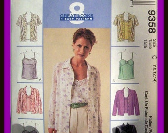 Pattern-Patterns-Vintage Patterns-Vintage McCall's 8 Great Looks In 1- Easy Sewing Pattern-Women's Blouses sizes 10 12 14-Celestial Luxuries