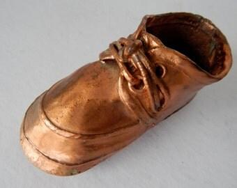 Vintage Bronzed Baby Toddler Shoe -- Copper Colored - Vintage Infant Keepsake