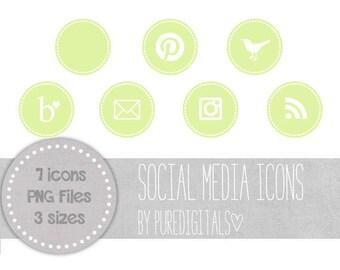 Light Green Social Media Icons, Light Green Blog Buttons, Cute Social Media Buttons, Light Green Blog Icons, Website Icons