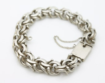 Unique Heavy Sterling Silver Custom Link Artisan Charm Bracelet Old Mexico. [2547]