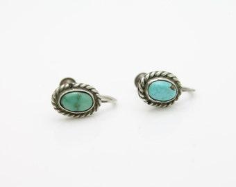 Vintage Sterling Silver Green Blue Turquoise Southwest Stud Earrings. [2679]