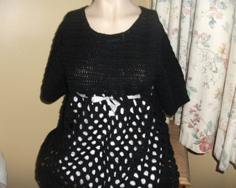 Black mini dress hand crochet in ireland