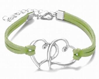Double Heart Light Green Suede Bracelet