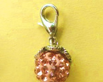 Dangle  Shamballa Light Beige w/Pink Highlights Dangle for Bracelets, Floating Charms, Necklaces & Keychains  D003