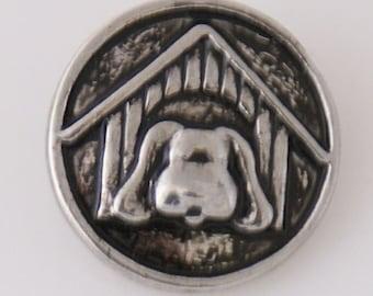 KB7808  Precious Silver Dog in Dog House ~ Set on Black Enamel