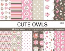 "Owl digital paper pack ""cute owls"", with owl patterns, to use in scrapbooking, card making, as backgrounds..."