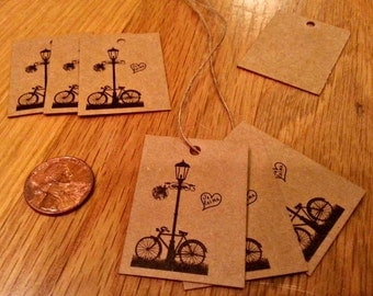 75 small Kraft gift tags & jute string with bicycle and heart, wedding gift tags, bicycle gift tags