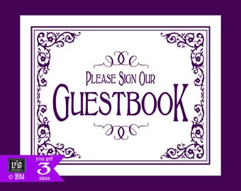 Printable Please sign our Guest Book Wedding Sign - 3 sizes - instant download digital file - DIY - Black Tie Purple Plum Collection
