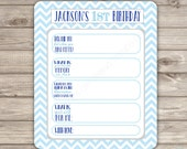 Items similar to PERSONALIZED Quiz Birthday game Wishes Blue Theme