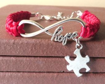 Autism Aspergers HOPE Awareness Puzzle Piece Charm Macrame Bracelet YOU Choose Your Cord Color(s)
