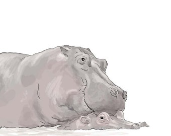 Valentines Day Card, Hippos