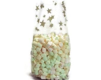 Free Ship 25 Gold Stars Cellophane Bags