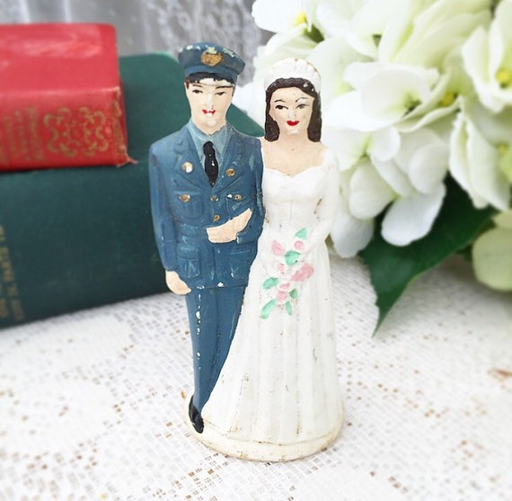 Antique Wedding Cake Topper Military Couple By -3219