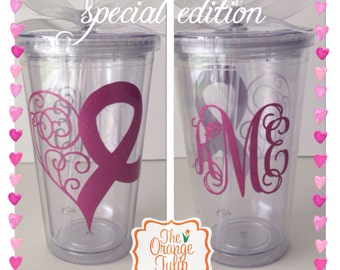 Breast Cancer awareness tumbler/cup