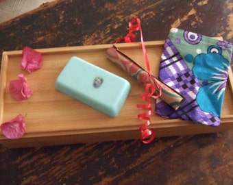 Aquarius ASTRO Soap~with magical stone, and prediction for the month within a cloth pouch!