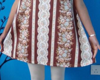 STOCK CLEARANCE SALE - Vintage cotton fabric sleeveless mini dress