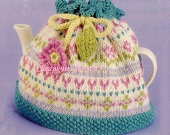 Floral Tea Cosy with Crochet Flower and Leaf in Aran weight 10ply yarn - PDF of a Vintage Knitting pattern - Instant Download HD