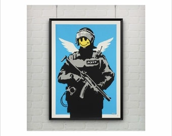 Smile by Banksy Print / Graffiti Art / US Letter and A4 up to A3+ size / Street Art / Wall Art / Provocative Humor / Contemporary Room Decor