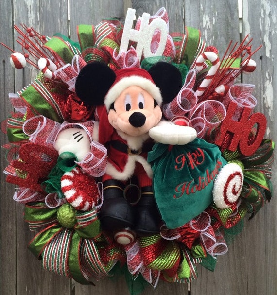 Used Disney Christmas Decorations: Mickey Mouse Christmas Wreath Disney Christmas Wreath