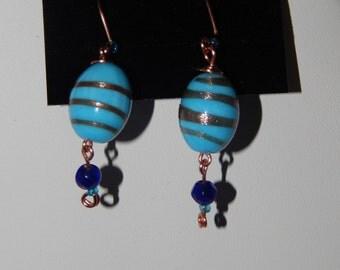 Blue and Copper Dangle Earrings