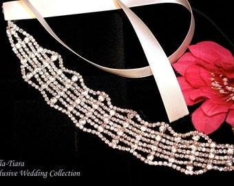 crystal headband, bridal headband, rhinestone headband, wedding headpiece, ribbon wedding headband, prom headband
