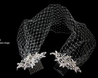 wedding birdcage veil, bridal combs, wedding cage veil, bridal french net veil, bridal hair piece