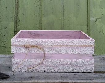 Light Pink Wedding Card Box with Lace, Twine and Cards Banner, Shabby Chic Box, Baby Shower Decor, Rustic Wedding Decor, Wedding Gift Box
