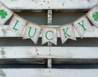 Lucky Burlap Banner, St. Patrick's Burlap Banner, Shamrock Burlap Banner, St. Patrick's Decor