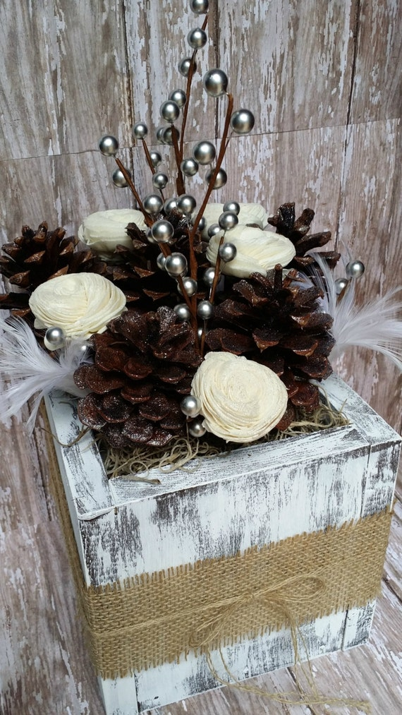 Pinecone centerpiece with distressed wooden box rustic winter