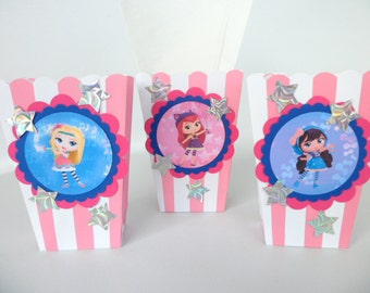 Little Charmers Inspired popcorn boxes...party favors.. goodie bags.. SET OF 10
