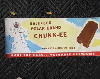 Original 1950's Holbrook Polar Brand Chunk-ee Ice Cream Bar  - Kitchen Sign
