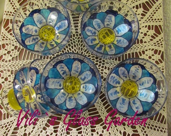 "Hand painted Ice cream bowls "" Blue Daisy "", set of six"