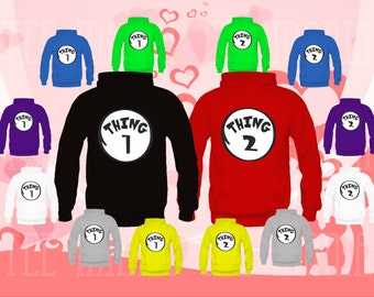 2 Couple matching Hoodie (Thing 1, and Thing 2) sweatshirts